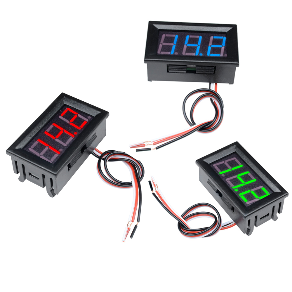 56inch Meter Three Voltage 30V 3 Blue Wires 0 0 Inch Display Voltage Digital 3 50pcs Lot 56 Panel Red LED 0 Green Meter Voltmeter