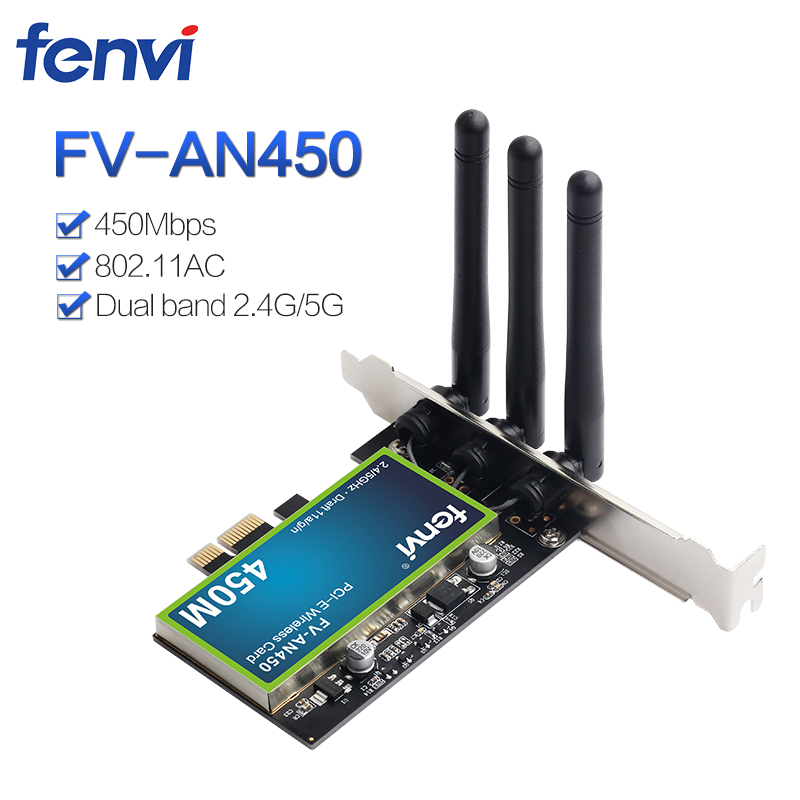 Desktop PCI Wifi Adapter 450Mbps Dual Band Wireless Network Card 802.11a/b/g/n With Intel Chips With 2.4/5GHz For PC Computer