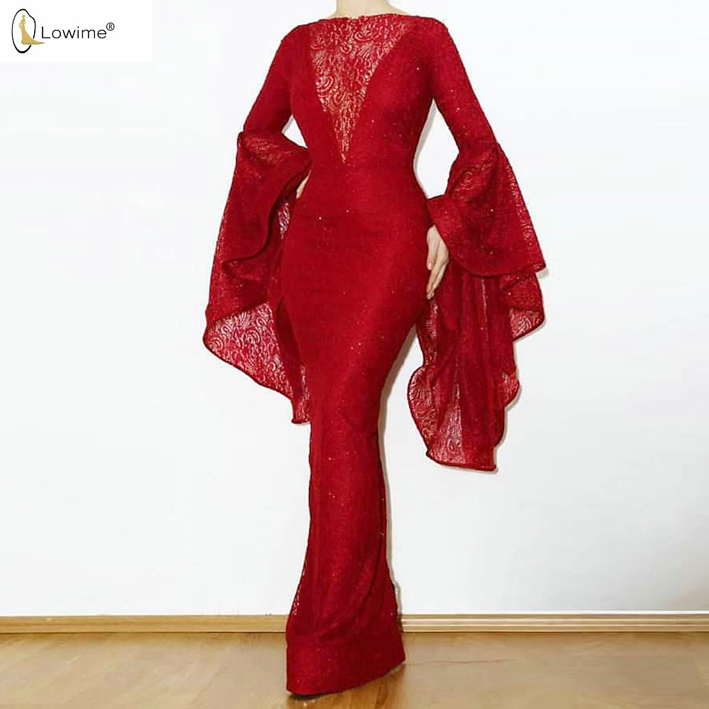 Muslim Wine Red Mermaid Evening Dresses Long Sleeve Robes Vestidos De Noche Abendkleider Party Prom Gowns