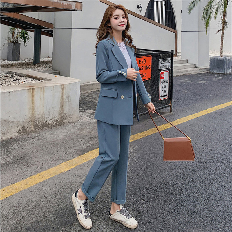 HziriP Chic 2020 All Match OL Style Solid Blazer Plus Elegant Blue Office Lady Autumn Women Work Wear Trouser 2 Piece Set Suits