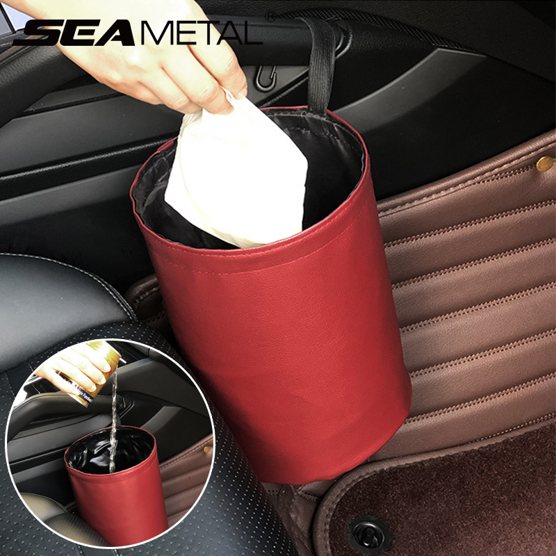 Cubo de basura de cuero plegable para coche, a prueba de fugas, impermeable, colgador de cubo, contenedor de basura, bolsillo, accesorios de limpieza automática