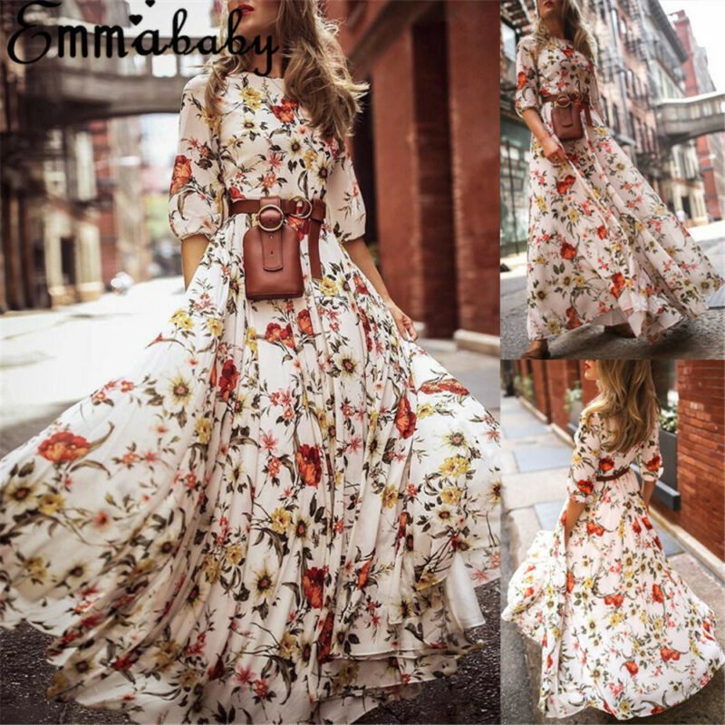 2020 New Women Summer Flower Print Boho Long Sleeve O-Neck Maxi Dress Evening Party Beach Sundress
