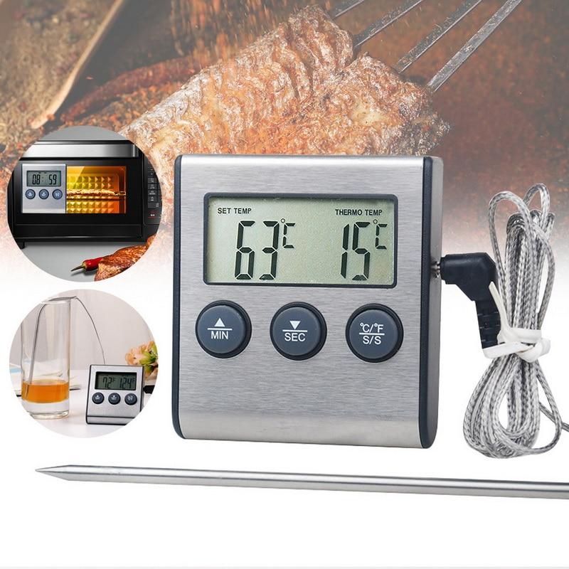 DIDIHOU 1 шт. Кухонный Термометр для еды Цифровой зонд духовка и термометр для мяса таймер для барбекю гриль для приготовления мяса