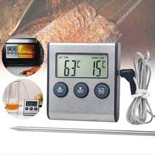 DIDIHOU 1pc do kuchni do jedzenia termometr sonda cyfrowa piekarnik i termometr do mięs zegar dla Grill mięso jedzenie gotowanie tanie tanio Higrometr CN (pochodzenie) Thermometer 49 ° C i Pod DIGITAL Gospodarstwa domowego Aaa baterii Osadzone 1 9 Cali i Pod