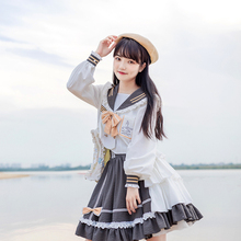 Lolita-Dress Skirt Navy-Collar Sweet-Top Soft Girl College-Style Cute And Cos High-Waist