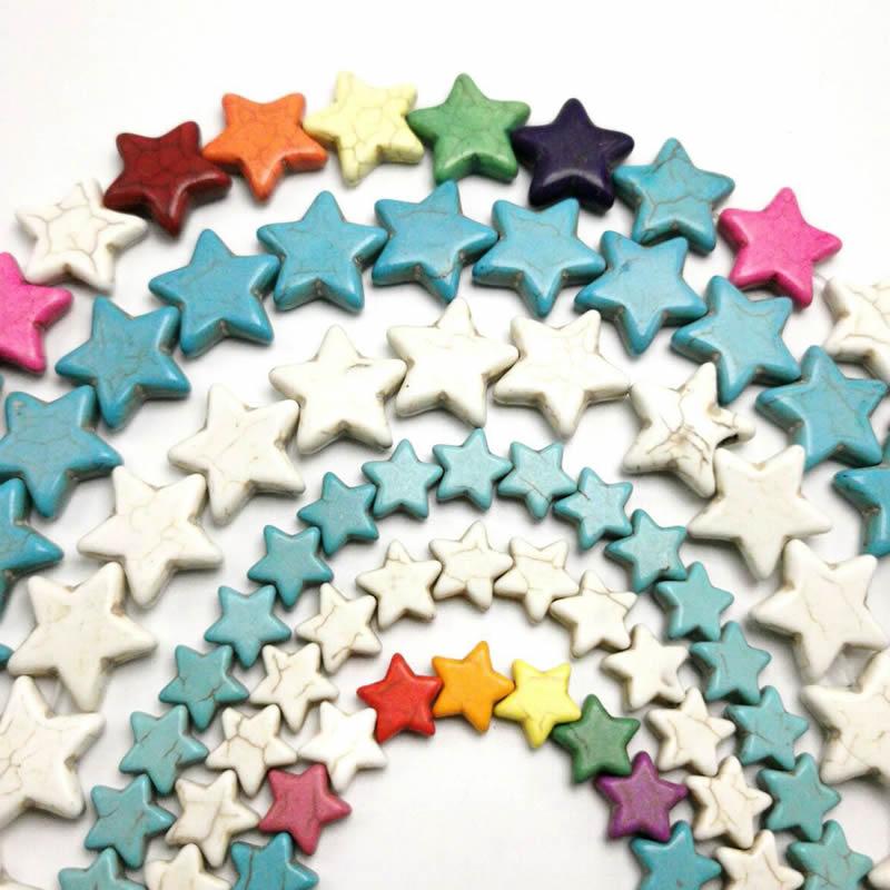 Смешанные Цвет в звездочку и в форме Бирюзовый Камень Spacer Бусины DIY для браслет Цепочки и ожерелья делая 12/15/20 мм