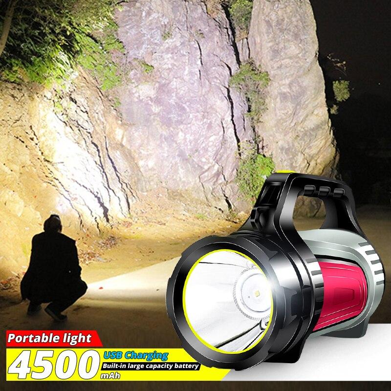 High powerful LED flashlight Searching lamp night lighting built-in 4500mah portable torch hand lantern for Camping fishing