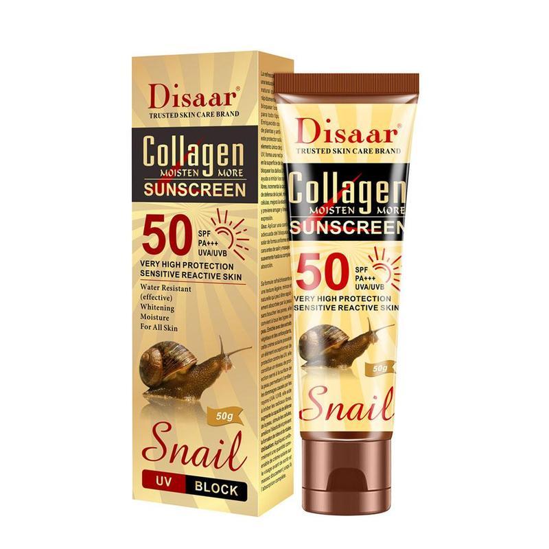 Disaar Collagen Snail Sunscreen Face Body Skin Care SPF50++ UVA UVB Sun Protection Cream Oil-Control Moisturizing Sun Screen