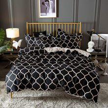 Luxury Bedding Set Super King Duvet Cover Sets 3pcs Marble Single Queen Size Black Comforter Bed Linens Aloe Cotton 200x200(China)