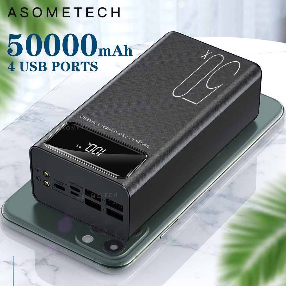 Power Bank 50000mAh Portable Charger LED Light Poverbank Powerbank <font><b>50000</b></font> <font><b>mAh</b></font> External <font><b>Battery</b></font> For iPhone Xiaomi Samsung Huawei image