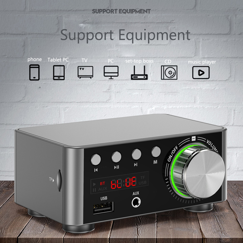 50WX2 Bluetooth 5.0 Power Mini Amplifier TPA3116 Receiver Stereo Home Car Audio Amp USB U-disK TF Music Card Player