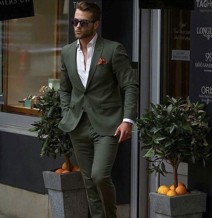 Street-Style-Fashion-Dark-Green-Men-Suit-Slim-Fit-Groom-Tuxedo-Two-Pieces-Jacket-Pants-Custom