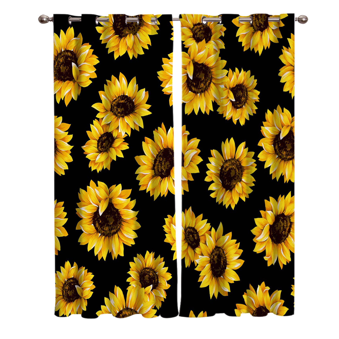 Retro Sunflower Wood Window Curtains Dark Kitchen Bedroom Kids Treatment Valances Ideas Hot Discount 6063b Cicig