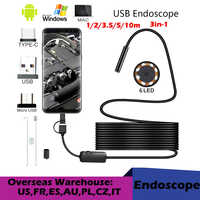 Cámara endoscopio USB 720P HD de alta calidad, 8,0mm, con 8 LED, Cable de 1/2/5M, boroscopio de inspección impermeable para PC Android