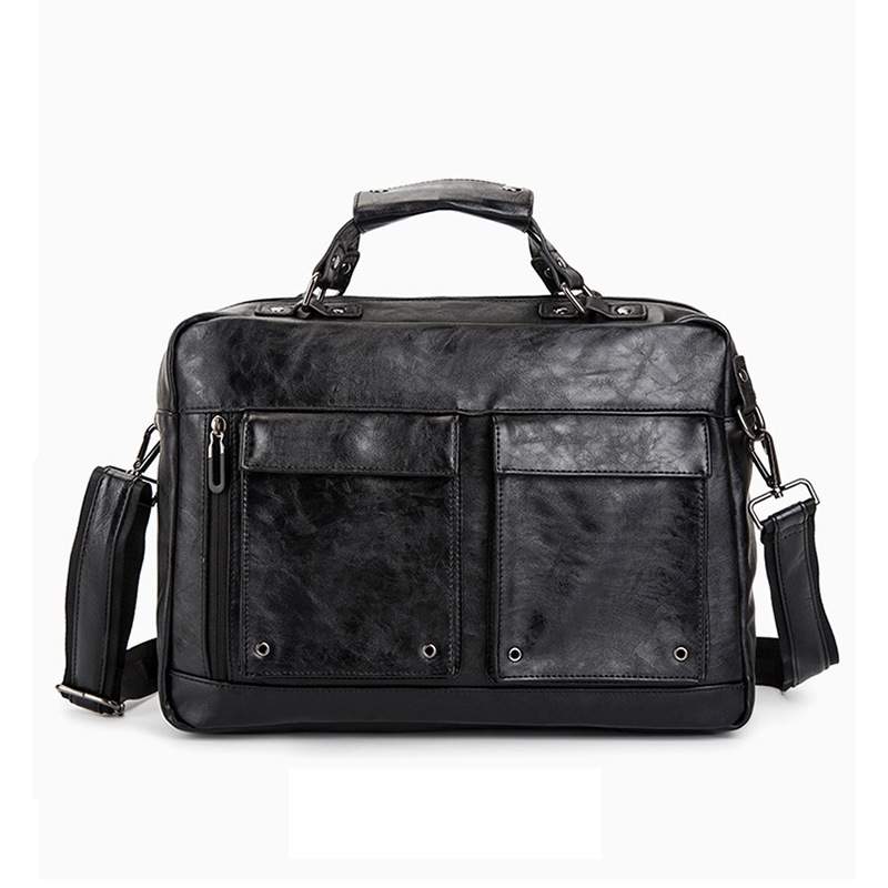 Business Office Briefcase Men Vintage PU Leather Handbag Male Computer Laptop Bag Large Shoulder Travel Bags Brand Man Tote 2019
