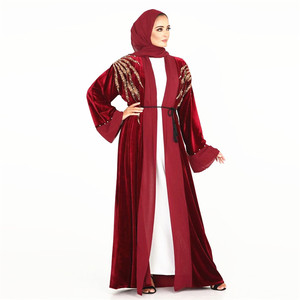 Velour muslim fashion abaya kaftan women aooliques beaded long sleeve embroidered robe outer wear muslim abaya cardigan MSL204