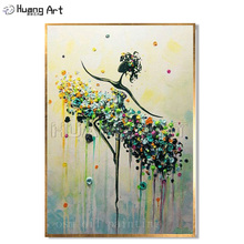 Handmade Abstract Dancer Painting Modern Large Art Wall Decor Hand-painted Canvas Aqua Blue Yellow Palette Knife Oil Paintings