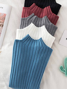 Knitted Sweater Tops Pullover Ribbed Long-Sleeve Basic Croysier Autumn High-Neck Winter