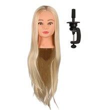 Cabeça de boneco para treino, cabelo longo liso dourado de 26 polegadas, modelo com suporte para barbeiro e salão de beleza