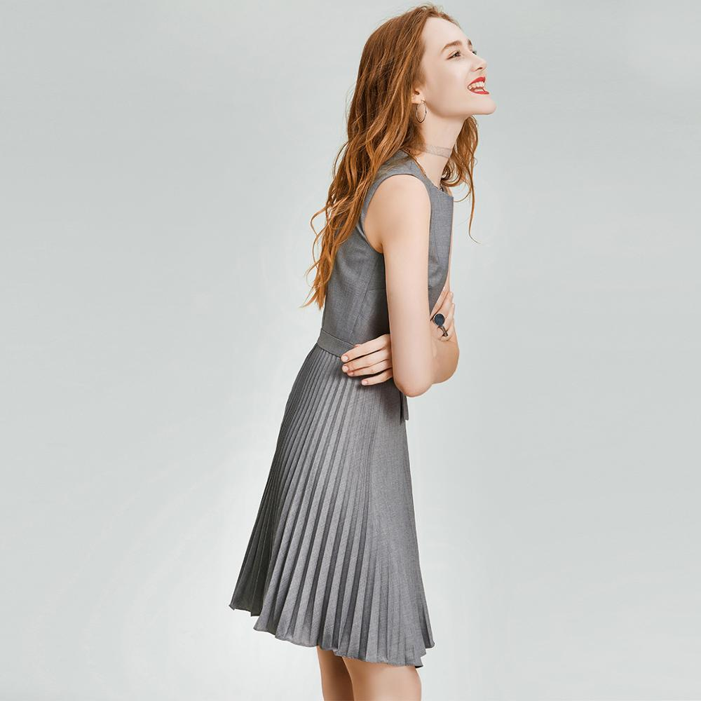 HAVVA Early Spring Women Pure Gray Sleeveless Dress Cool Style Slim Organ Pleated A line Summer Dress Q3338 - 4