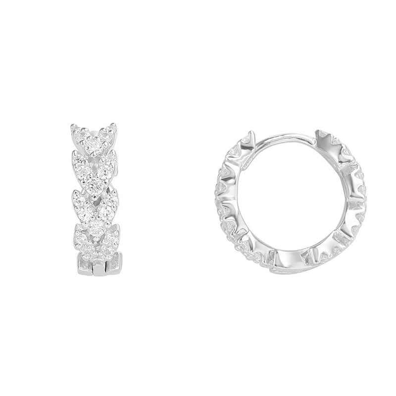 SLJELY คุณภาพสูง Real 925 Sterling Silver Heart Shap ข้าวสาลีหูขนาดเล็ก Hoop ต่างหู Cubic Zirconia ผู้หญิงหรูหราเครื่องประดับ