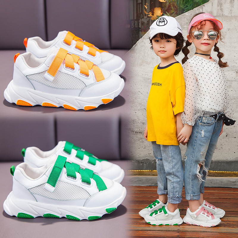 2020 Girls Sneakers Mesh Breathable Flat Soft-bottom Children's Casual Shoes Hook&loop Kids Boys Sneakers Sports Running Shoes