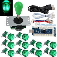 Arcade Game Stick DIY Kit Buttons with Logo LED 8 Way Joystick USB Encoder Cable Controller for PC MAME Raspberry Pi Green(China)