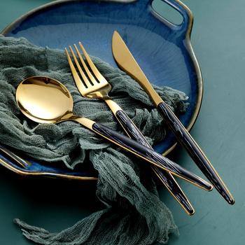 Nordic ślubne zestawy naczyń stołowych jakości służąc wielokrotnego użytku widelec nóż łyżka zestaw akcesoria kuchenne zestawy obiadowe Cubiertos DF50CJ tanie i dobre opinie Mrs win CN (pochodzenie) Zachodnia Stałe Ekologiczne Fork Spoon Knife Set Łyżka widelec nóż zestaw CN(Origin) Western