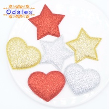 60Pcs/lots Glitter Christmas Star Heart Gold Red Silver Pad Patches Homemade Decoration Tree X-Mas Party Sticker