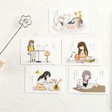 Tarjeta de mensajes de vida diaria de gato y Chica, marcador de escritura, carta de felicitación, foto, papel pequeño, papelería, regalo, 28 Uds.