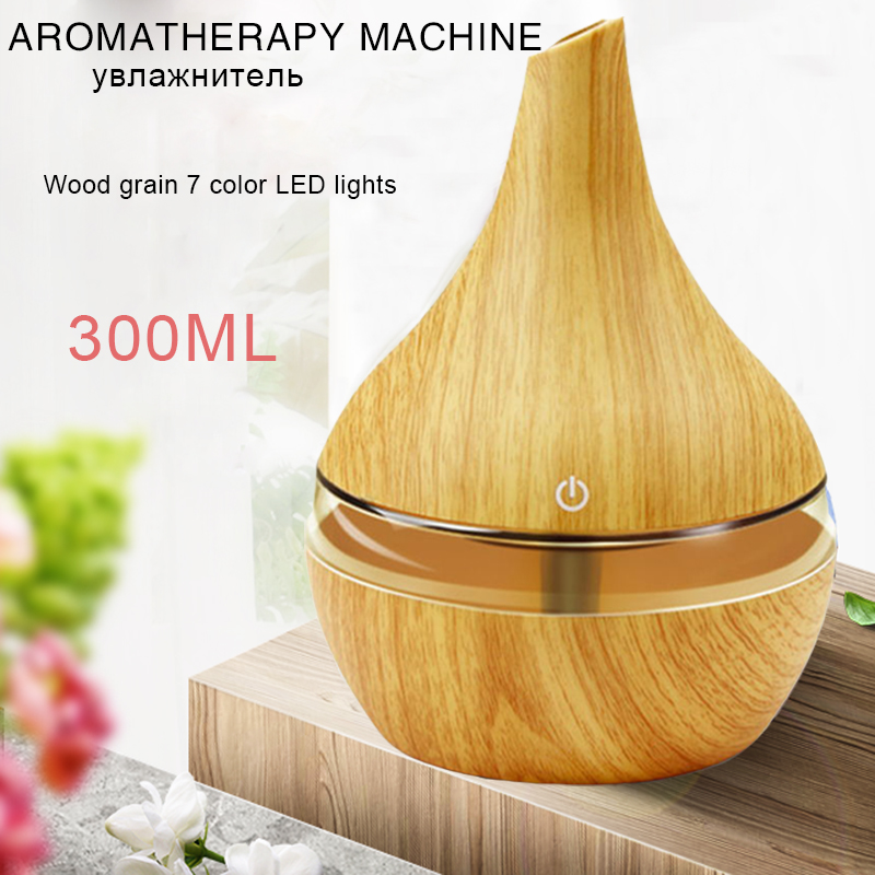 300ML Electric Humidifier Aroma Oil Diffuser Ultrasonic Wood Grain Air Humidifier USB Mini Mist Maker LED Light For Home Office