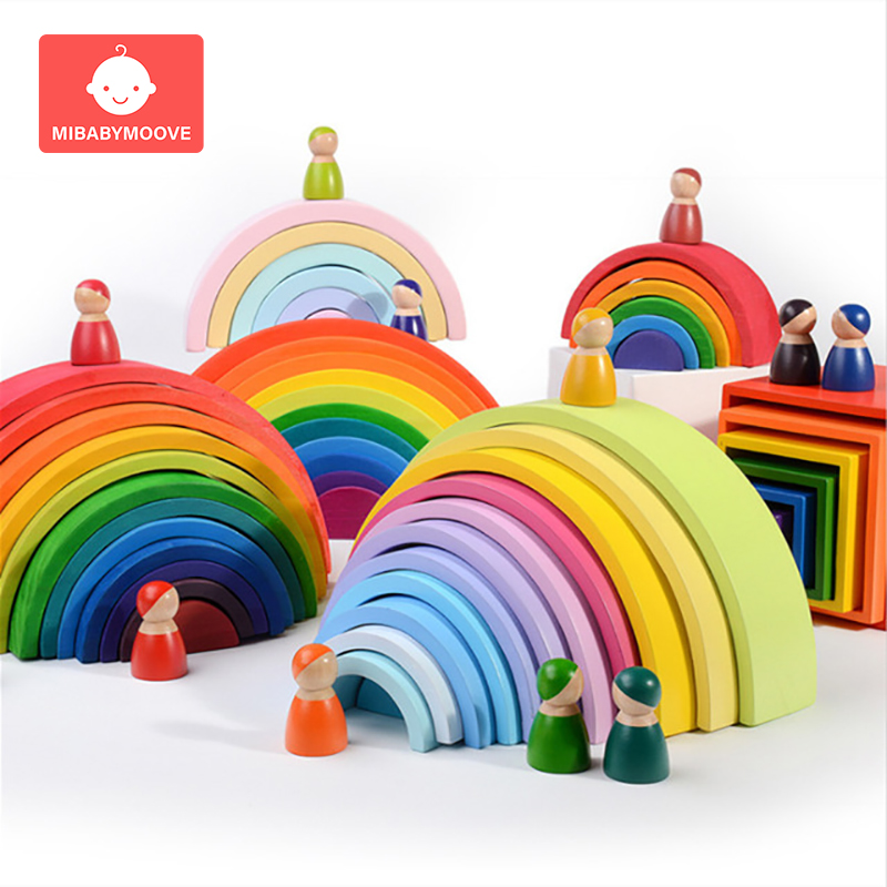 Baby Toys Large Size Rainbow Stacker Wooden Toys For Kids Creative Rainbow...