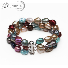100% Real Natural Baroque Pearl Bracelet Women,trendy Colorful 3 Rows Bracelet Girl Birthday Gift mobuy trendy real 100
