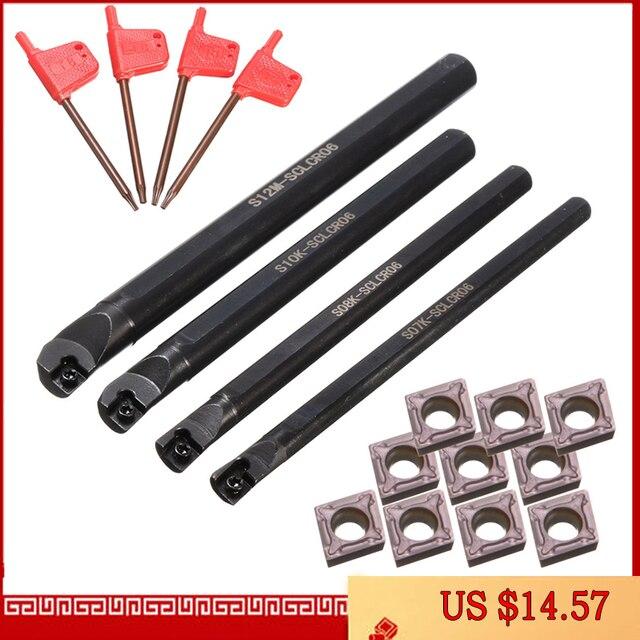 4 Set Di 7/8/10/12Mm Sclcr Tornio Boring Bar Tornitura Portautensili + 10pcs Ccmt 0602 Inserto In Metallo Duro Lame per Tornio Macchina