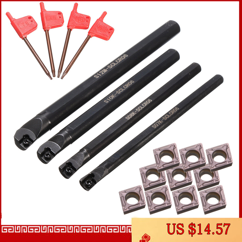 Conjunto de 4 barras de taladro de torno Sclcr de 7/8/10/12Mm + 10 Uds. Ccmt 0602 de torneado de portaherramientas, hojas de inserción de carburo para máquina de torneado