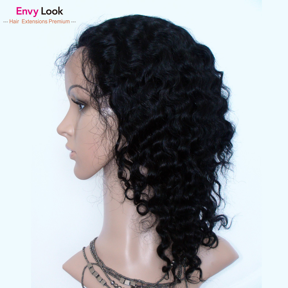 Envy Look natural color 13*4 lace front wigs water wave human remy hair lace frontal wig with baby hair for black woman salon