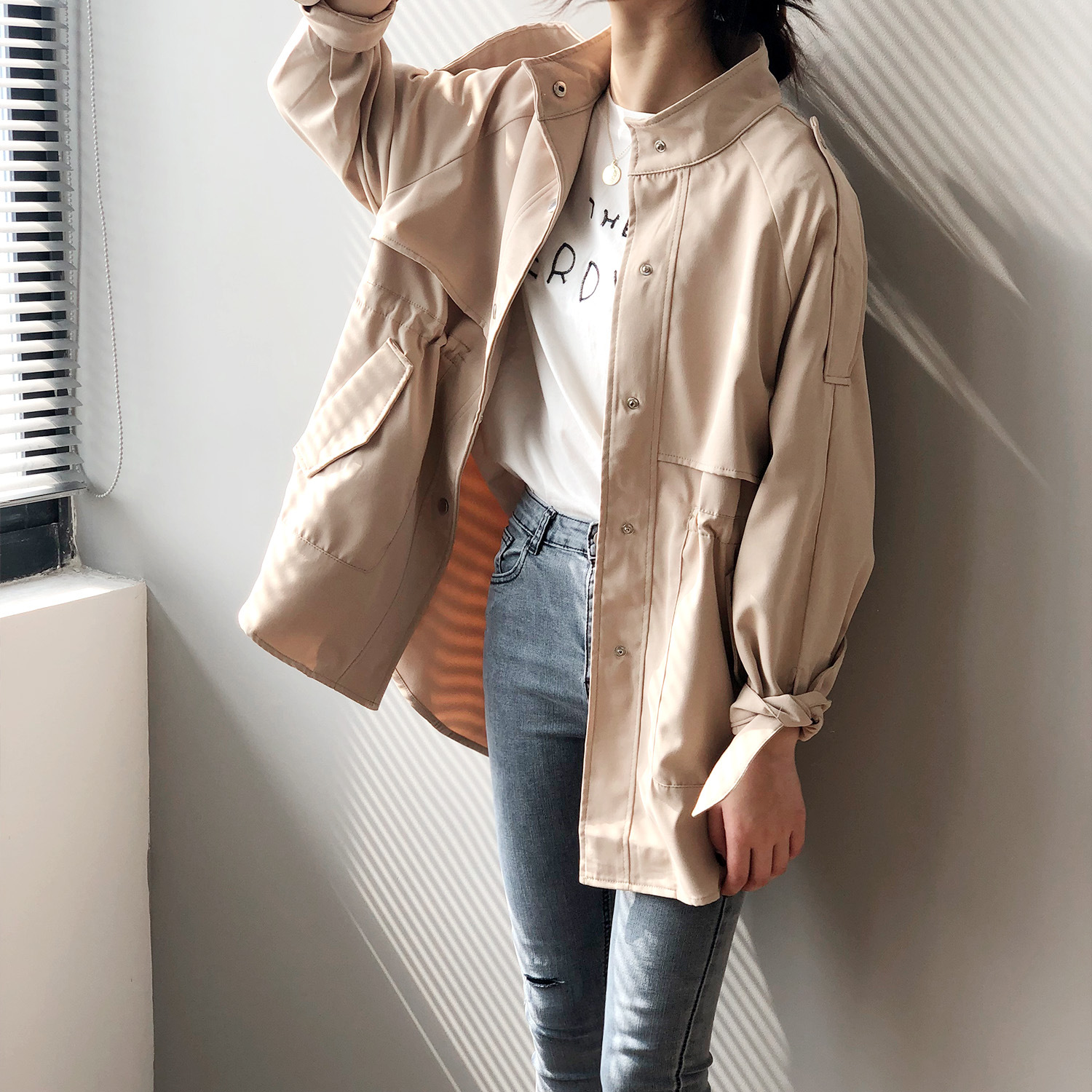 Trench-Coats Long-Windbreaker Designer Single-Breasted Women Casual Safari-Style Fall