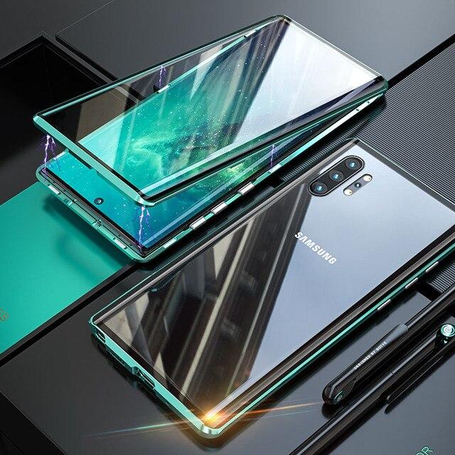 Magnetyczny dwustronnie szkło hartowane etui do Samsung Galaxy Note 10 Pro Plus Case odporny na wstrząsy twardy pancerz metalowy zderzak S20