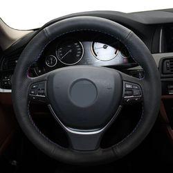 Negro cuero genuino protector para volante de coche para BMW F10 F11 (turismo) F07 (GT) F12 F13 F06 F01 F02