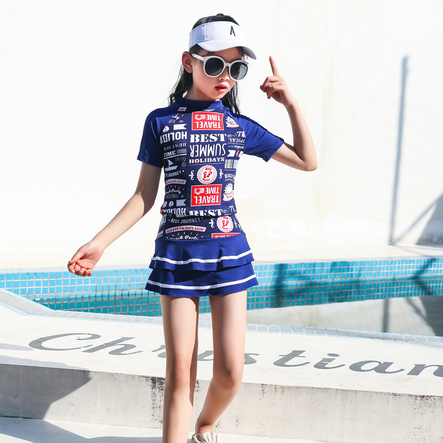 New Style Hot Sales Navy Style Short Sleeve Split Type Tour Bathing Suit Kids Swimming Fitness Fashion Bathing Suit