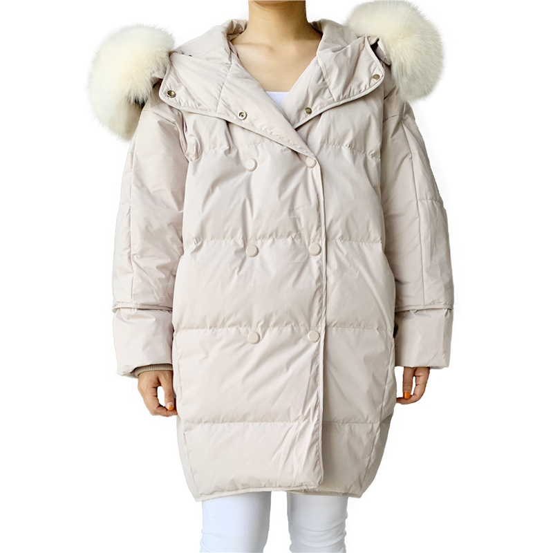 Down Coat Winter Women Real Natural Fur Collar Down Feather Jacket Thicken Long Down Parka Hooded Female Duck Down Coat Jacket