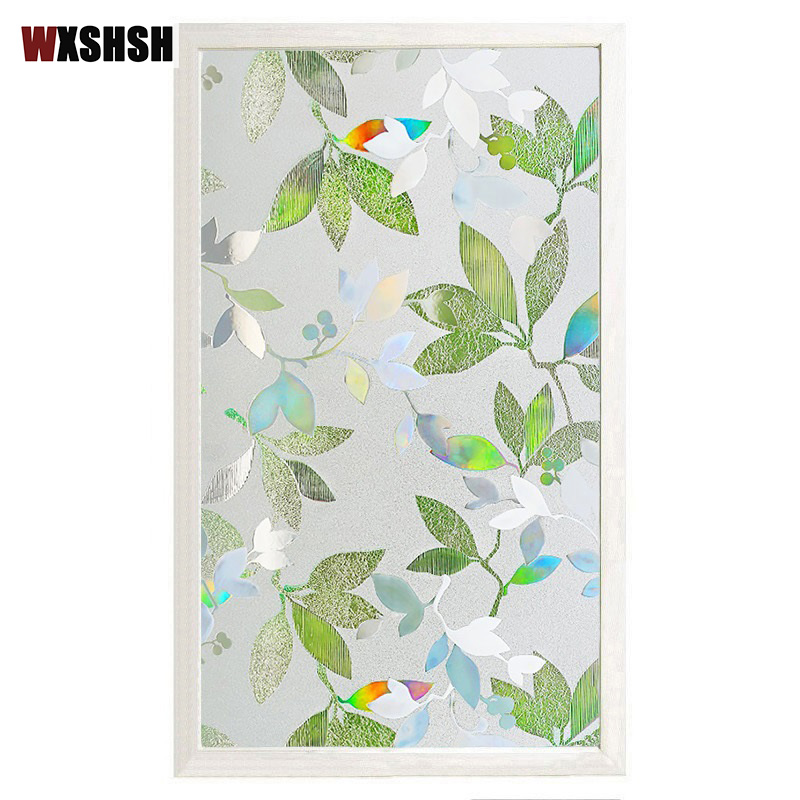 Leaf Window Film Static Cling Protect-Privacy UV-Proof Multi-Size PVC Window Protection Removable Reusable Window Decoration