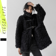 Lamb Wool Coat Black Fur Korean-Style Winter Casual-Jackets Women for Loose Warm Heavy