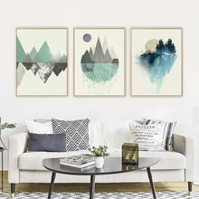 Abstrakte Geometrische Berg Wand Kunst Poster Nordic Sonne Wald Landschaft Leinwand Malerei Moderne Wohnzimmer Gang Wohnkultur