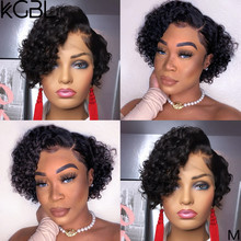 KGBL Pixie Curly13*4 Lace Front Human Hair Wigs 6''-8'' 150% 180% Density With Baby Hair Brazilian Non-Remy Medium Ratio(China)