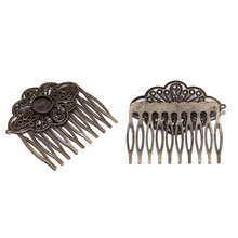 5Pcs/lot 52*56mm Hair Comb Charm Barrette Hairpins With 12mm