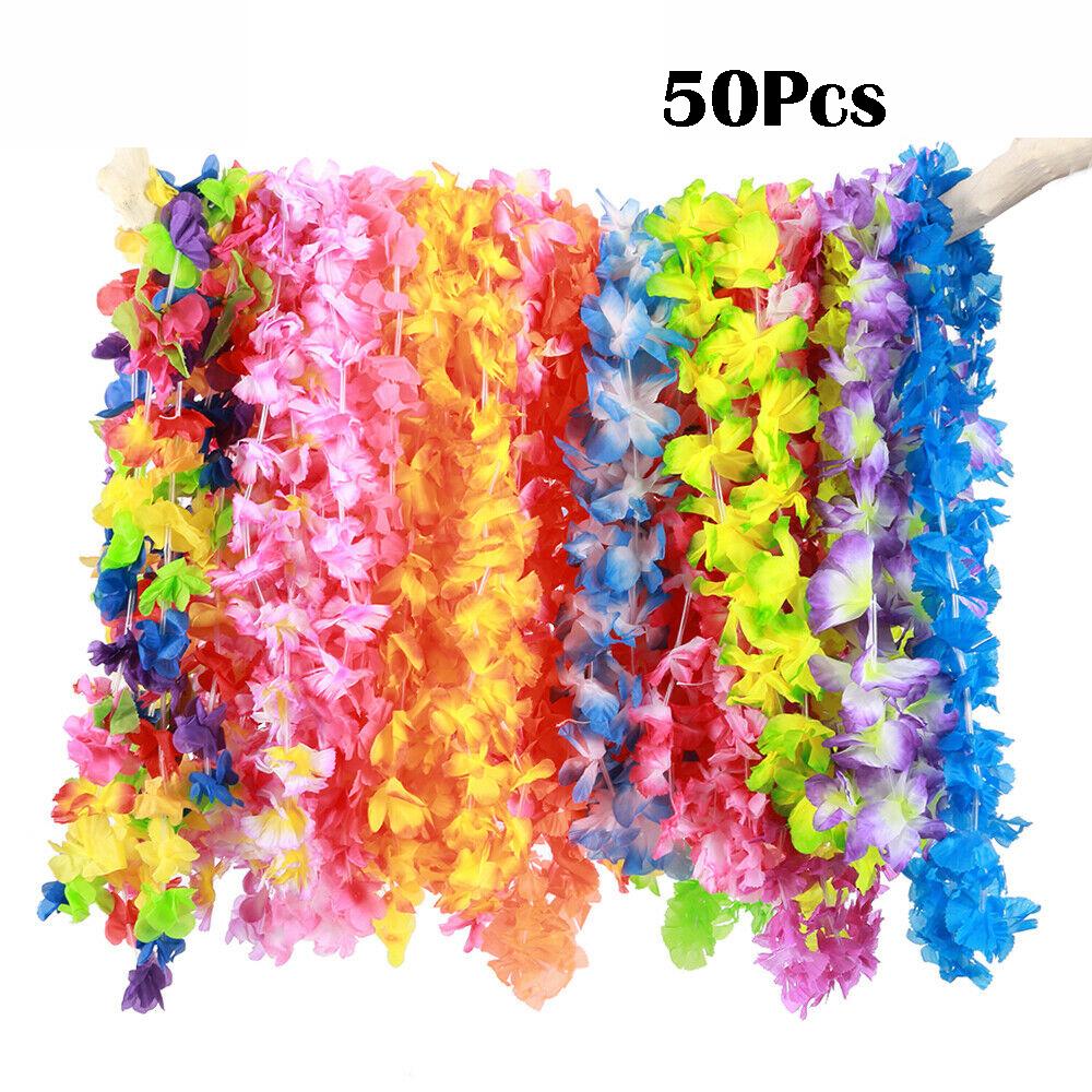 Details about  /Hula Girl Hawaiian Flower Leis Necklace Beach Party Supplies Dress Accessor