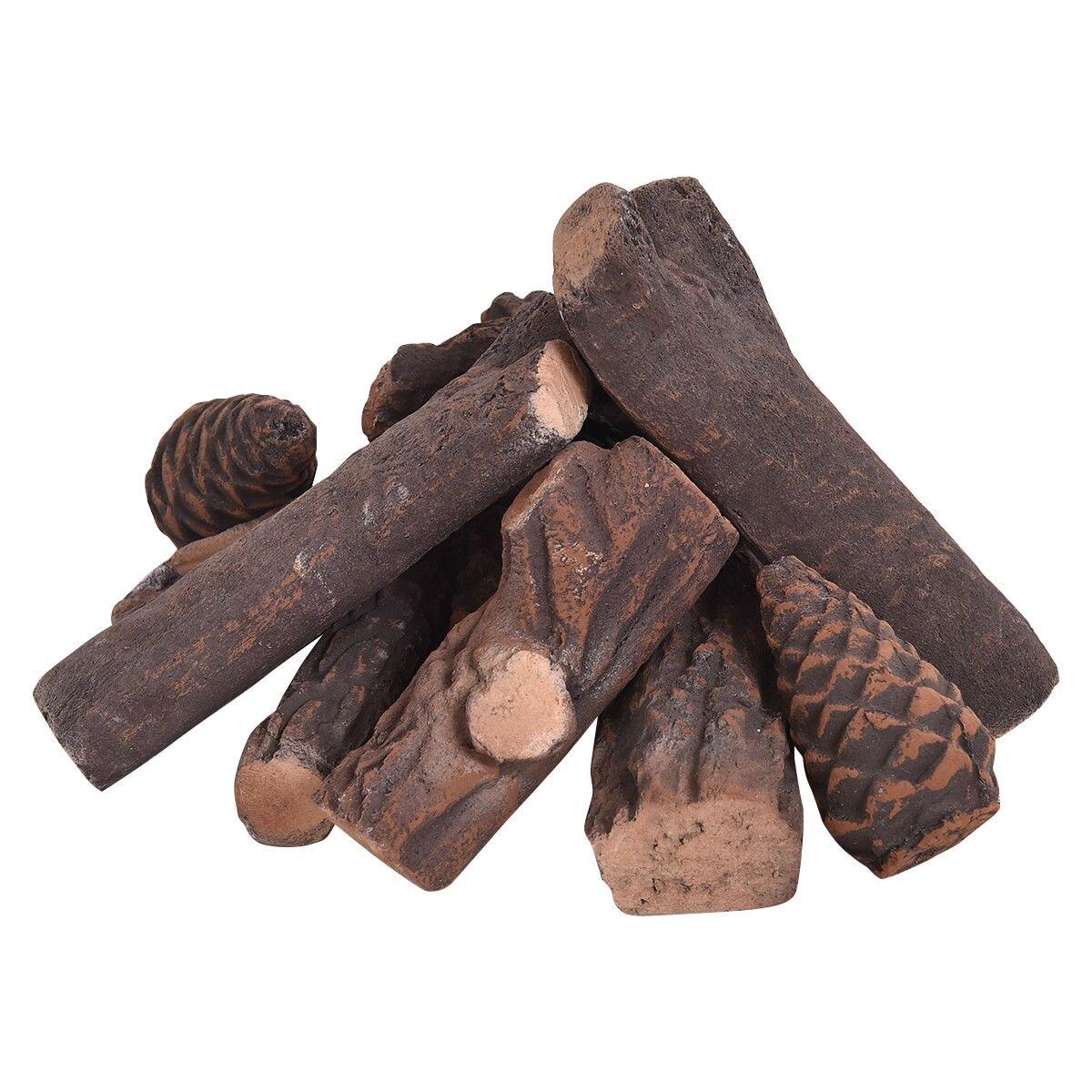 Costway 9PCS Ceramic Wood Gas Log Set Fireplace Imitation Wood Propane Firepit Logs
