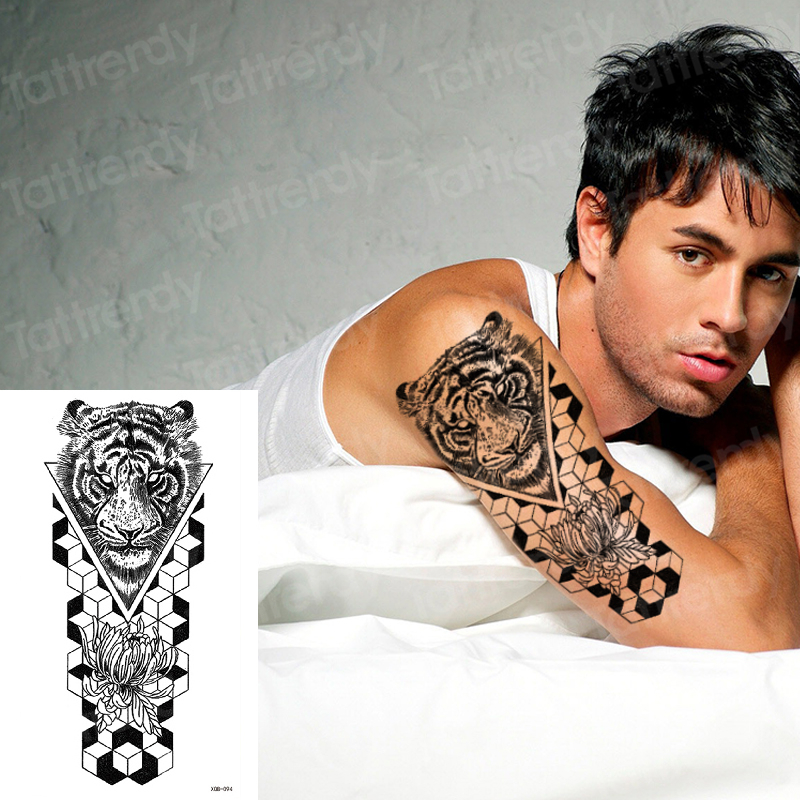 Tiger Skull Sleeve Tattoo Designs For Men Boys Fake Tattoos Animals Wolf Big Body Art Sticker Arm Shoulder Tatoo Waterproof