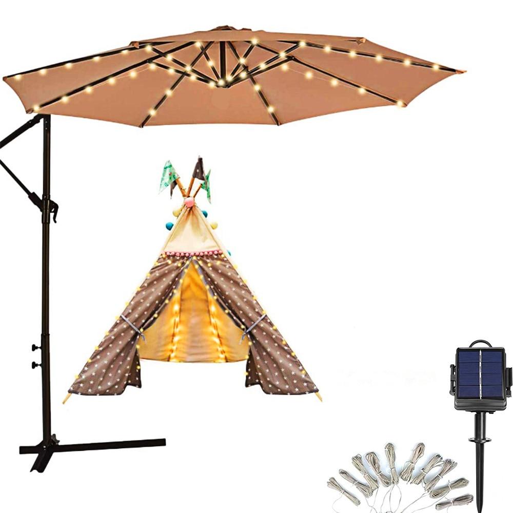 Umbrella Light Solar Light 104 LED String Light Outdoor Waterproof IP67 For Holiday Vacation Party Tent Dinner Seaside Decora